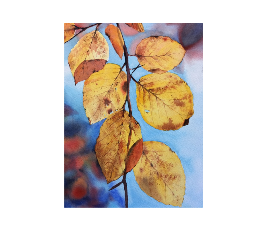 Autumn Leaves watercolour by Fiona Valentine